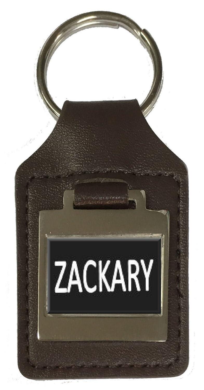 Zackary Leather Keyring Birthday Name Optional Engraving