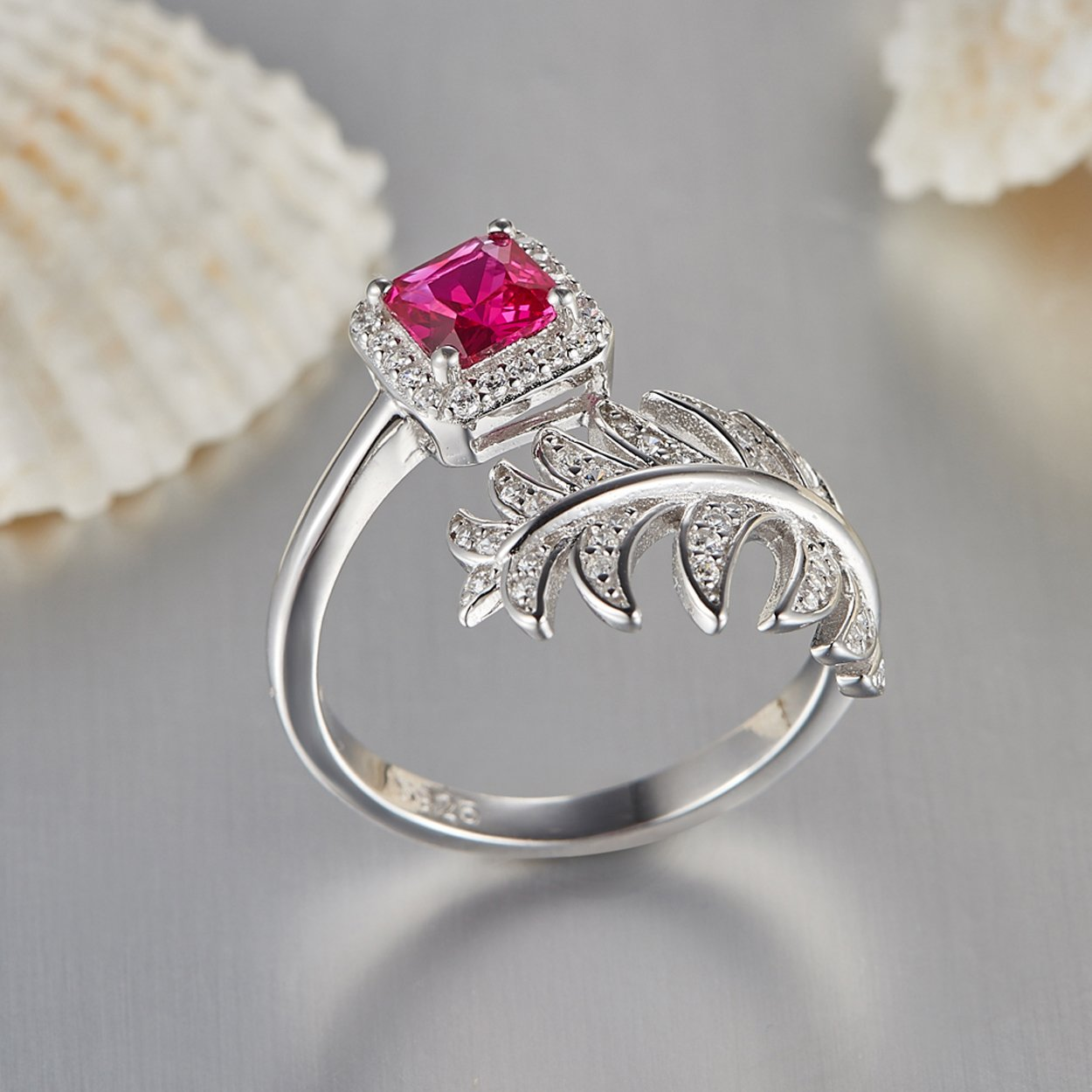 Jearls Womens 925 Sterling Silver Created Ruby Ring