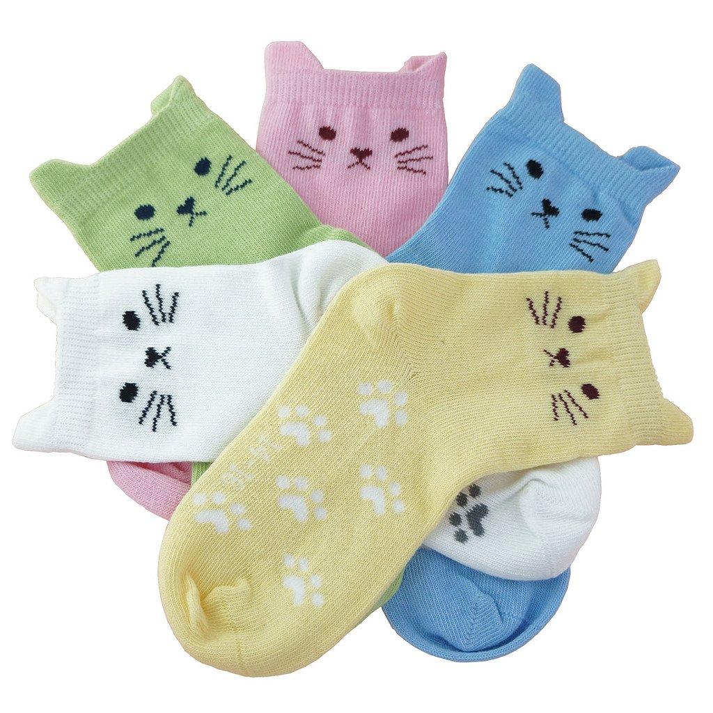Tandi Kids Girls Cotton Novelty Cats Crew No Seam Socks - 5-8 Years/Little Kid 10.5M-12.5M/16cm-18cm - Multicoloured (5 Pair) by Tandi (Image #2)