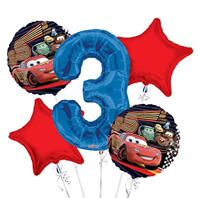 Cars Balloon Bouquet 3rd Birthday 5 pcs - Party Supplies: Health & Personal Care