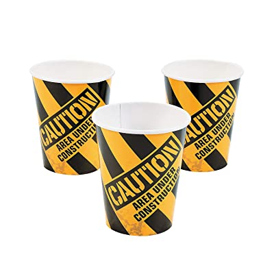 Fun Express - Construction Zone 9oz Cups for Birthday - Party Supplies - Print Tableware - Print Cups - Birthday - 8 Pieces: Toys & Games