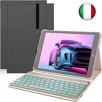 Funda para teclado compatible con Samsung Galaxy Tab S2 9.7, teclado Bluetooth inalámbrico con retroiluminación de 7 colores y función de encendido y ...