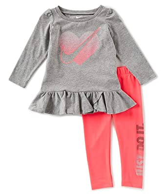 6a7a5f1f0c46 Nike Infant Girls 2 Piece Shirt and Pants Set Racer Pink Size 12 Months