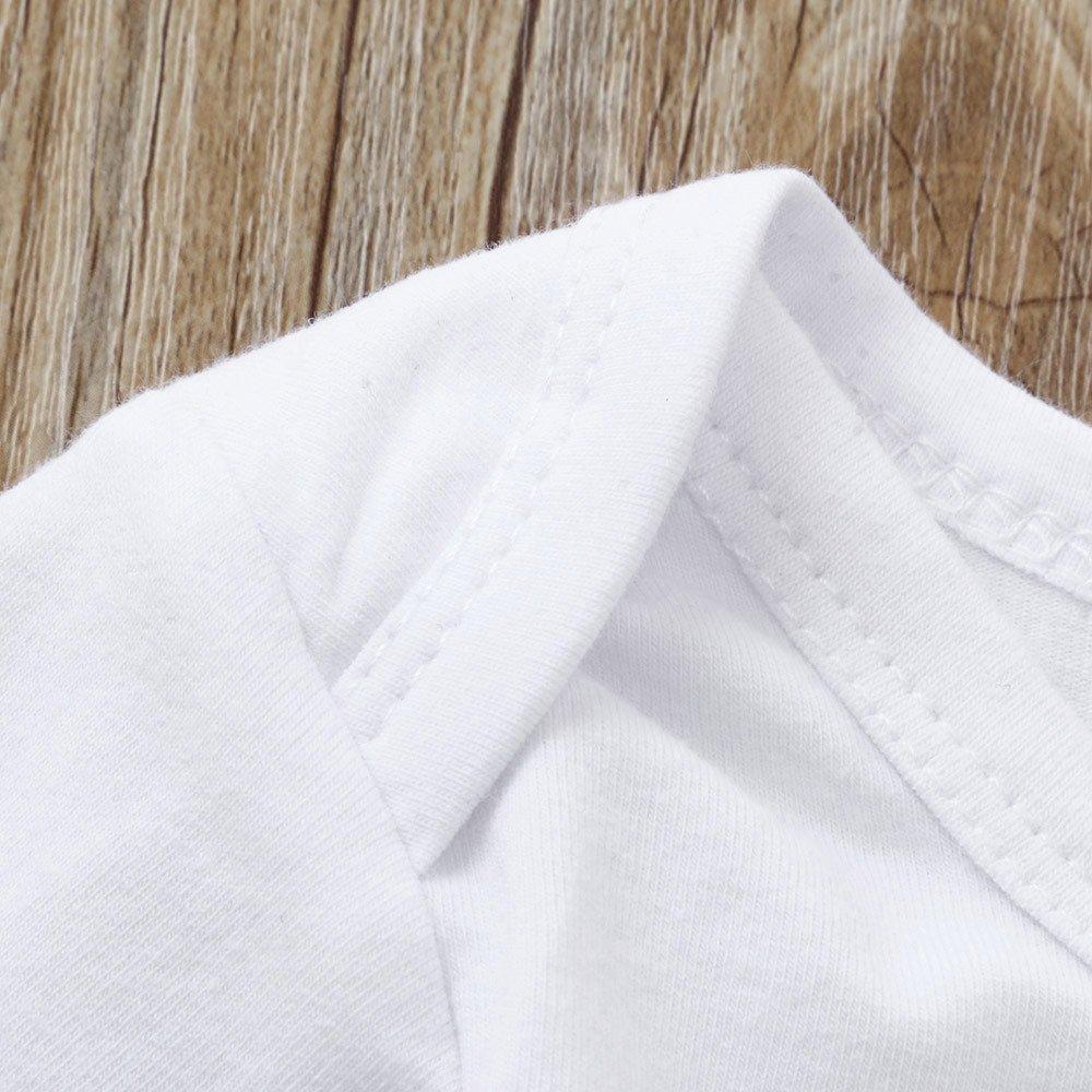 Cappello 3 Pezzi Suit Set di Vestiti per Bambine Culater 2018 Infant Ragazze T-Shirt con Cuore Manica Corta Romper Pantaloni 18-24 Mesi, Bianca