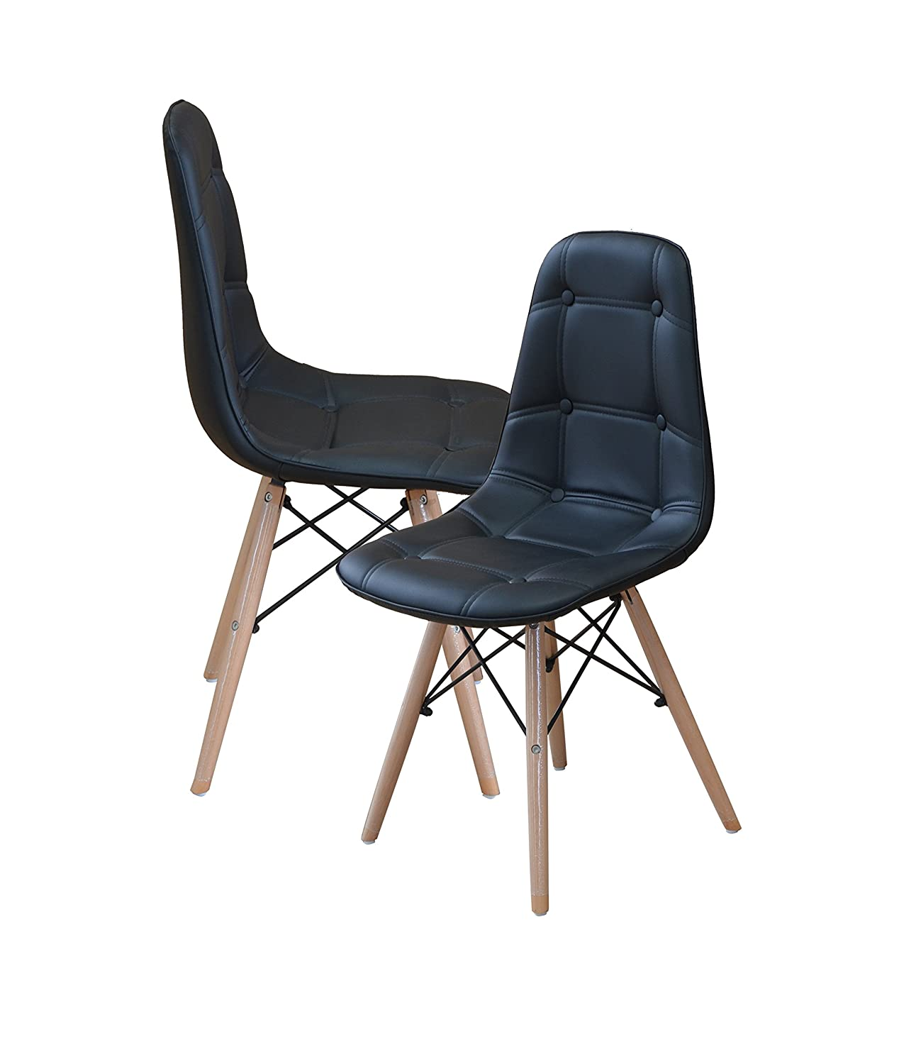 Amazon.com: Modern Set Of Tufted 2 EAMES Style Chair Natural Wood Legs (Sky  Blue): Kitchen U0026 Dining