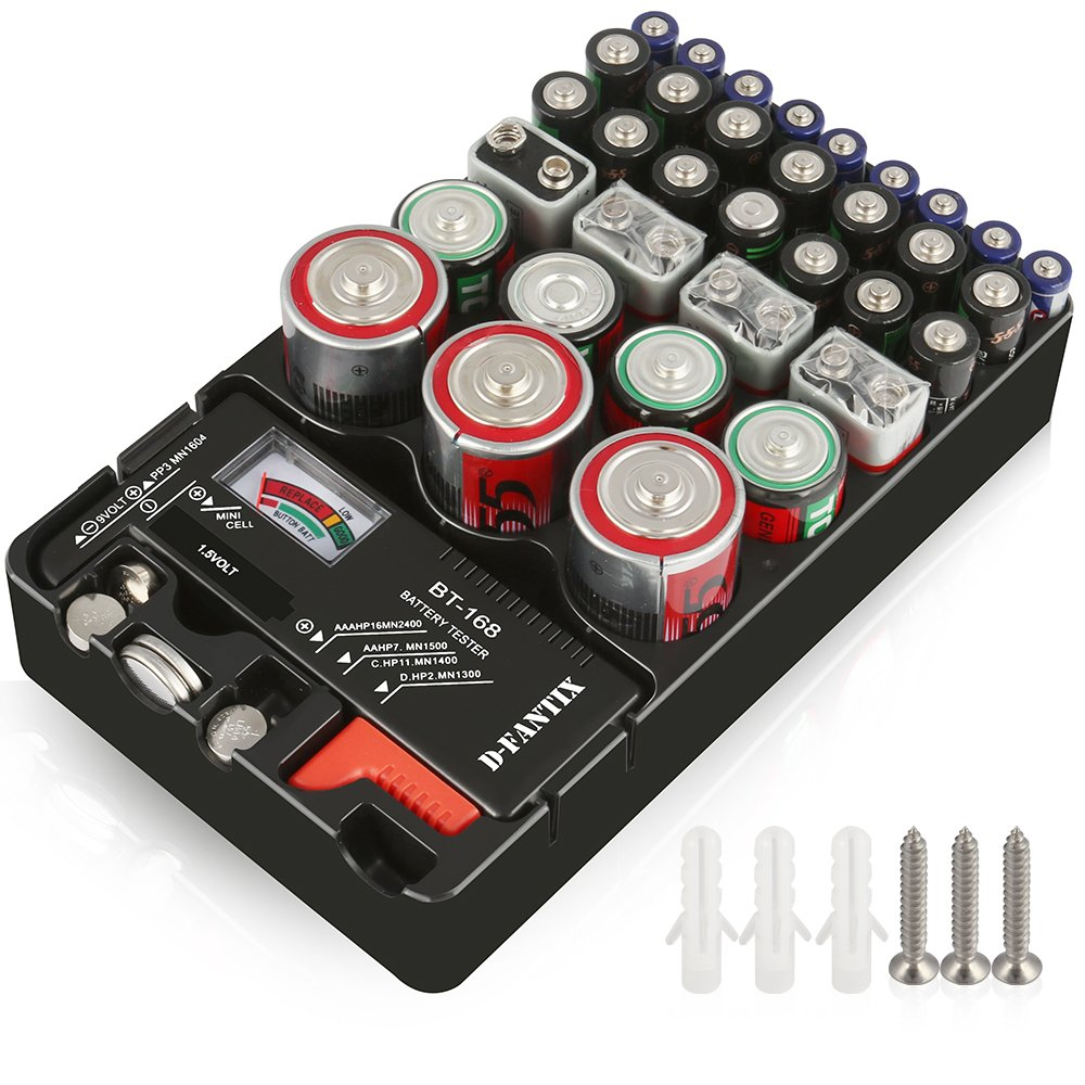D-FantiX Battery Organizer Storage Case with Tester Universal Battery Holder Storage for AA AAA C D 9V 1.5V Button Cell Batteries