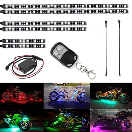 Motorcycle Led Light Kit Strips Atmosphere Led Lighting Strip Rgb Multicolor Accent Glow Neon Lights Lamp With Remote For Harley Honda Kawasaki