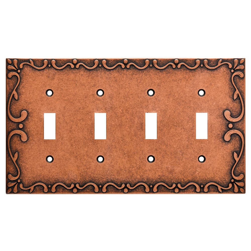 Franklin Brass W35080-CPS-C Classic Lace Quad Switch Wall Plate/Switch Plate/Cover, Sponged Copper
