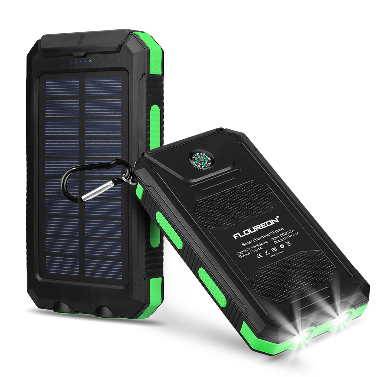 FLOUREON 10,000mAh Power Bank with Solar Charging Auxiliary Function,Portable Mobile Phone Charger Dual 2.1A USB Output External Battery Charger for iPhone, iPad, Samsung Galaxy etc.