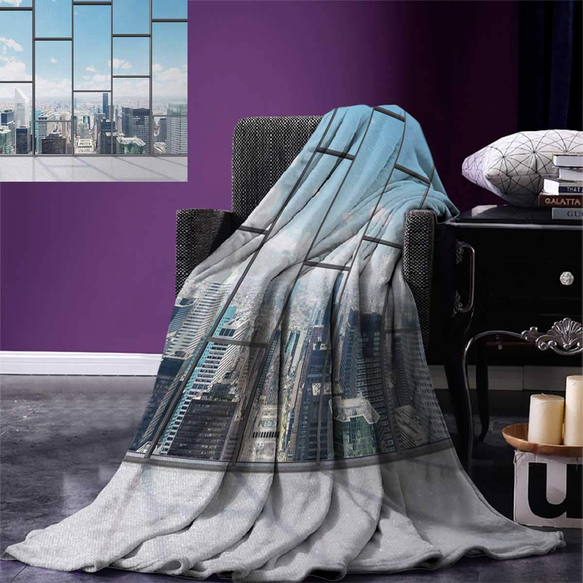 Anniutwo Modern Digital Printing Blanket Office Big Wide Windows City Building Skyscrapers View Art Photograph Custom Design Cozy Flannel Blanket 80''x60'' Sky Blue Grey