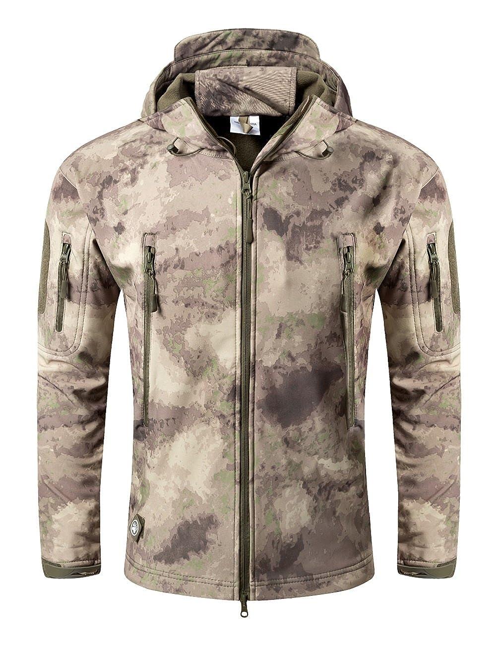 Impermeable Militar t/áctica Lucha contra la Chaqueta de Softshell Camping al Aire Libre Caminar Camuflaje Hoodie Coat