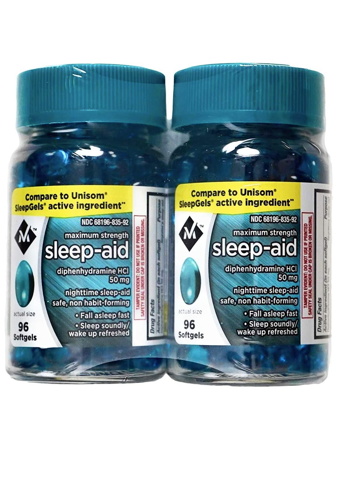 Member's Mark Maximum Strength Nighttime Sleep Aid, HCI 50 Milligram (192 Softgels)