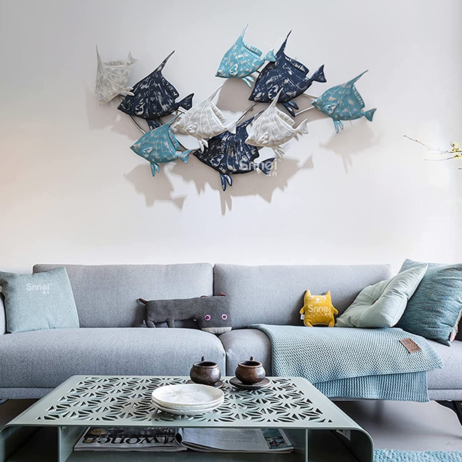 ANYURAN Metal Wall Sculpture Fish Decor, 3D Stereo Metal Wall Art Sculpture, Nautical Style Fish Aqua Theme Iron Walls Decoration for Living Room,B