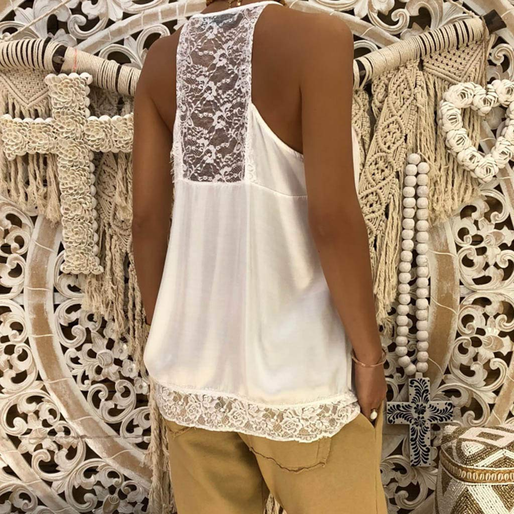 NUWFOR Women Ladies Solid Sexy Lace Patchwork Insert V-Neck Sling Loose Tank Top Blouse(White,US XS Bust:31.4'') by NUWFOR (Image #6)