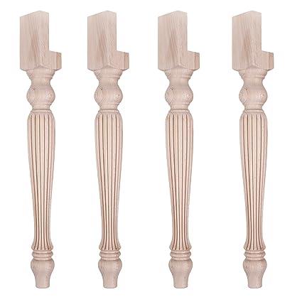 Gambe Di Legno Tornite Per Tavoli.Set Di 4 Gambe Tornite E Rigate In Legno Per Tavolo Quadrato O