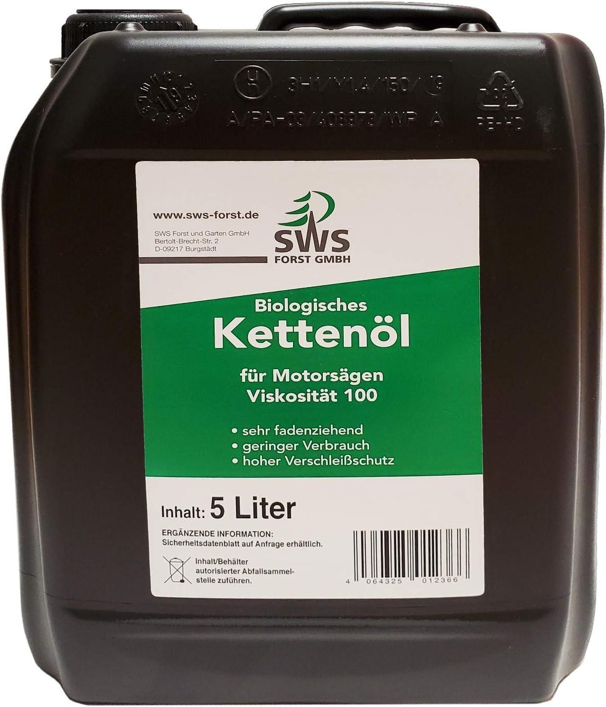 Aceite biológico para cadenas de motosierra, 100 bidones de 5 litros