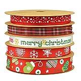Fowod 5 Roll Christmas Ribbon Printed Snowflake