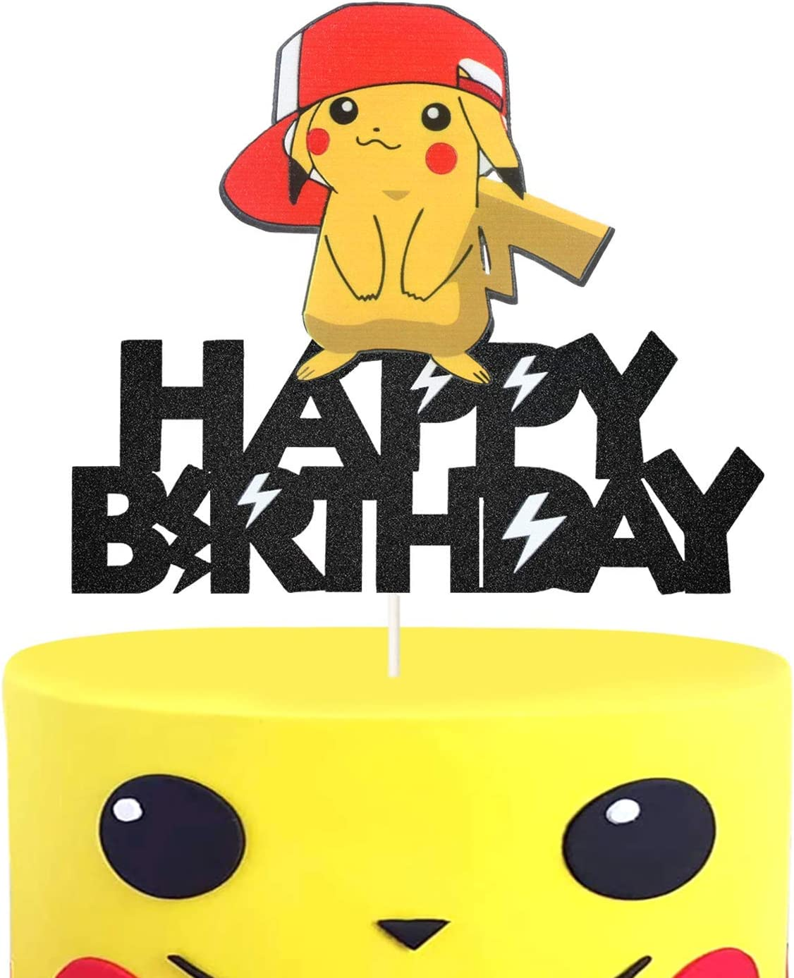 Pikachu Happy Birthday Cake Topper Cute Pokemon Inspired Cake Decor, Trainers Themed Party Decoration, Glitter Kid birthday Party Supplies