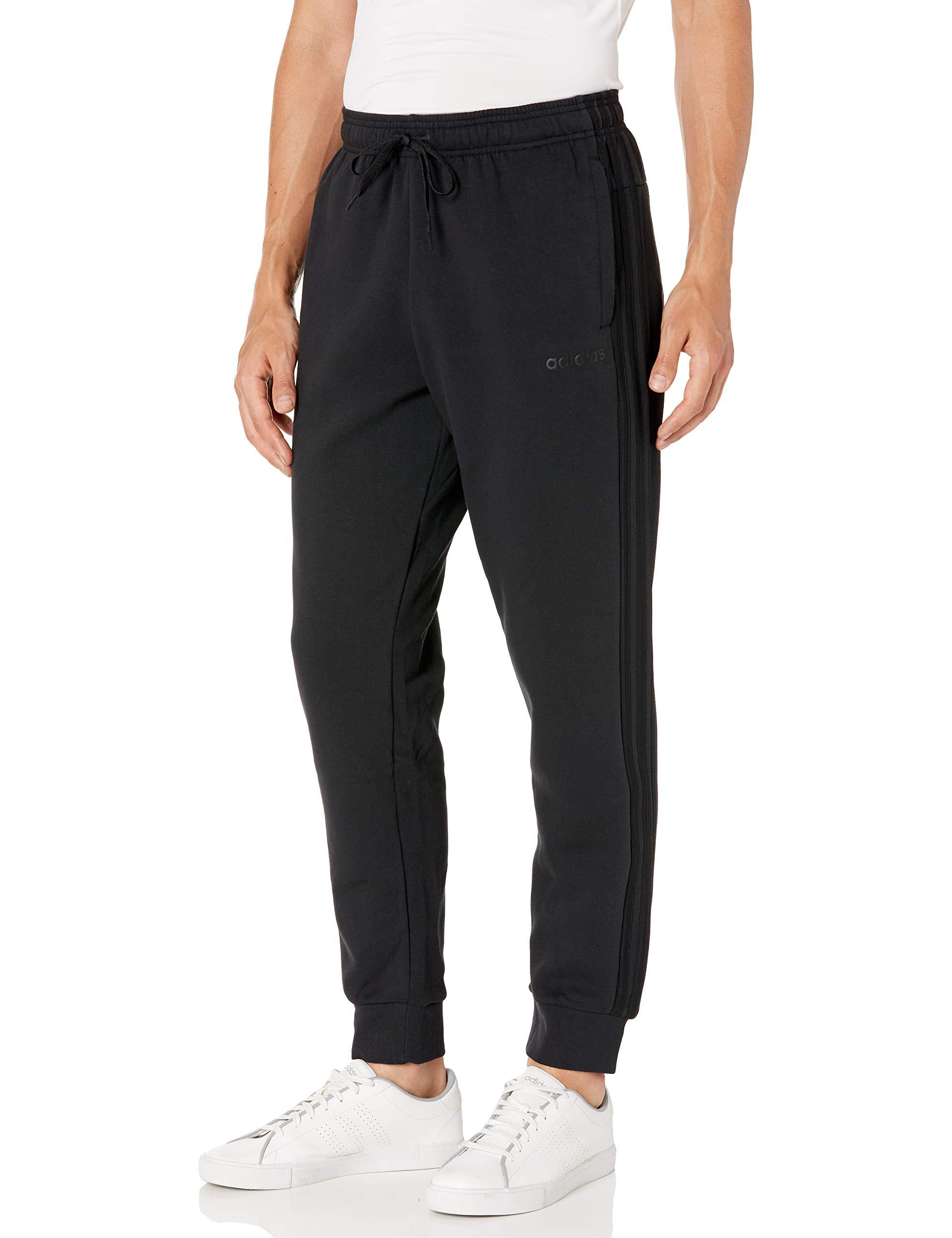 adidas Men's Essentials 3-stripes Fleece Jogger Pant,Black/Black,Small