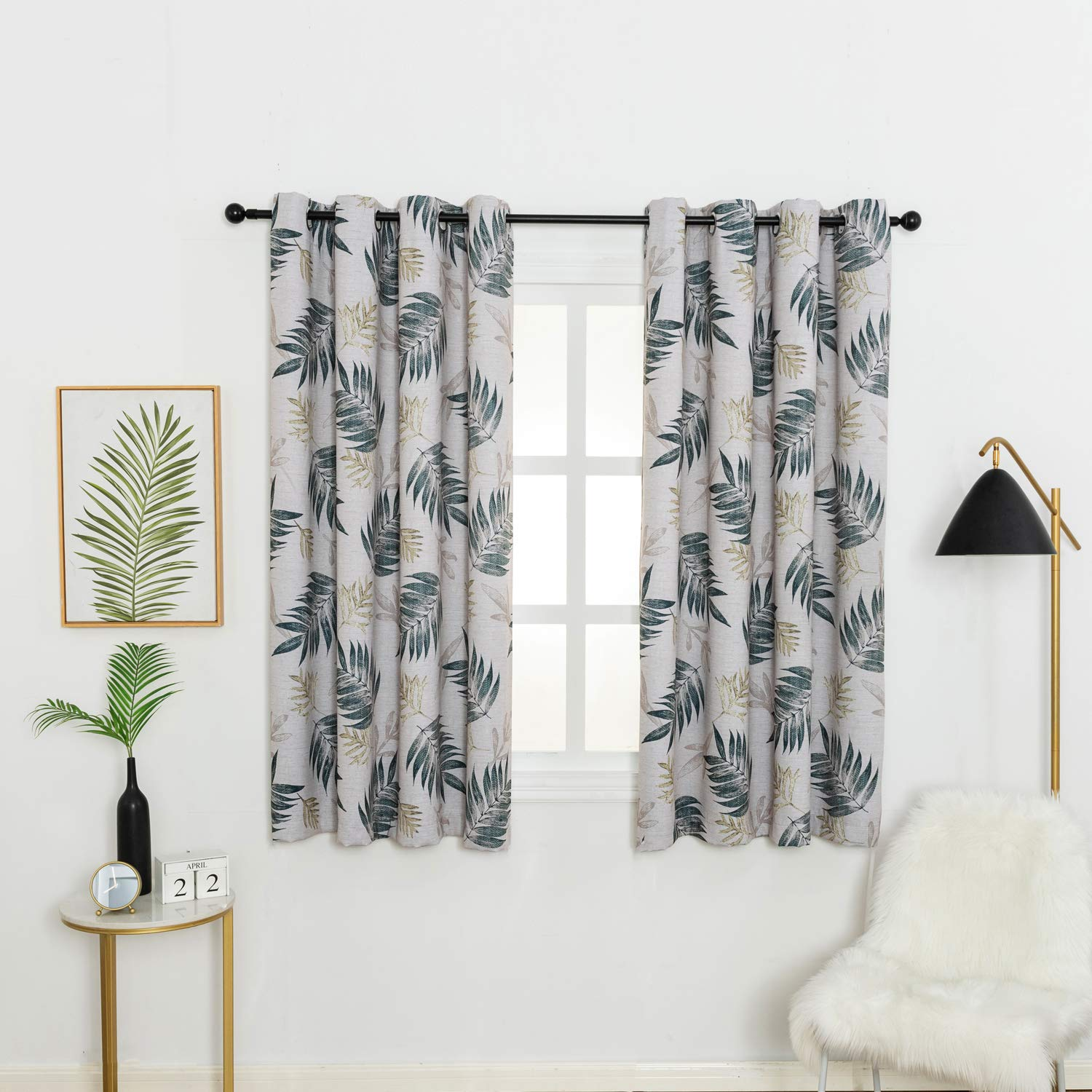 Anjee Print Blackout Curtains Drapes for Dining Room, Nordic Style Green Leaf Topic Kitchen Curtains(1 Pair, 63 Inch Length) by Anjee