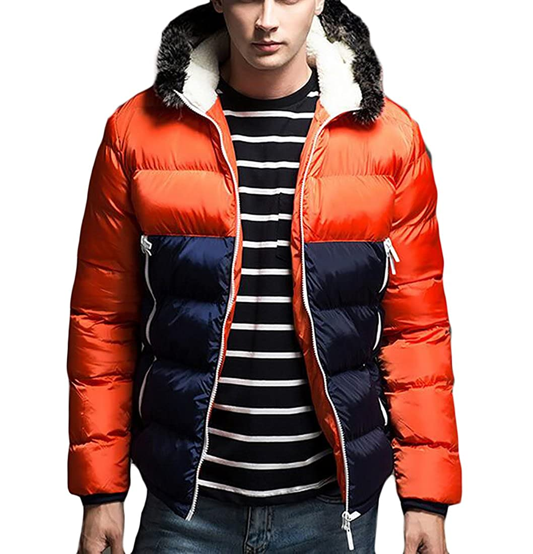 Suncolor8 Mens Slim Fit Color Blocked Hooded Zip up Jacket Quilted Coat
