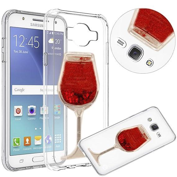 on sale e2c46 d3c2b Samsung Galaxy J7 Case,QKKE [Liquid Glitter] Flexible TPU Wine Glass Bling  Glitter Love Heart Flowing Silicone Gel Back Case For Samsung Galaxy J7 ...