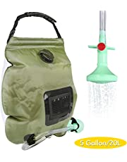 Solar Camping Shower Bag, 5 Gallons/20L Portable Camping Shower Bag with On/Off Switchable Shower Head for Camping Traveling Hiking Beach Swimming