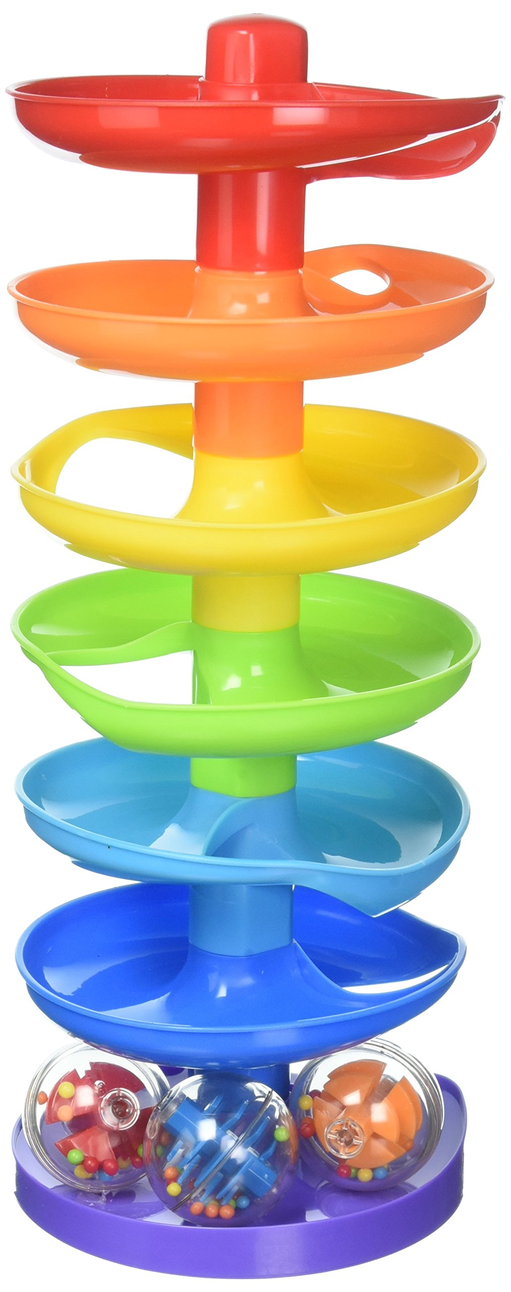 KidSource Super Spiral Tower - Ball Drop and Roll Activity Toy - Seven Colorful Ramps and Three Rattling Balls Promote Fine Motor Skills for Kids Ages 1 Year Old and Up