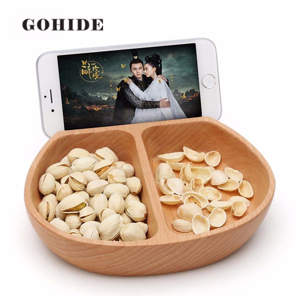 Gohide A Beechwood Multi-function Stylish Snacks Storage Box 2 lattice Container with Phone Slot holder stands Wooden Household Plate Dish Organizer For Snacks Storage Box L:17.5cm W:6.8cm H:3.6cm XCX