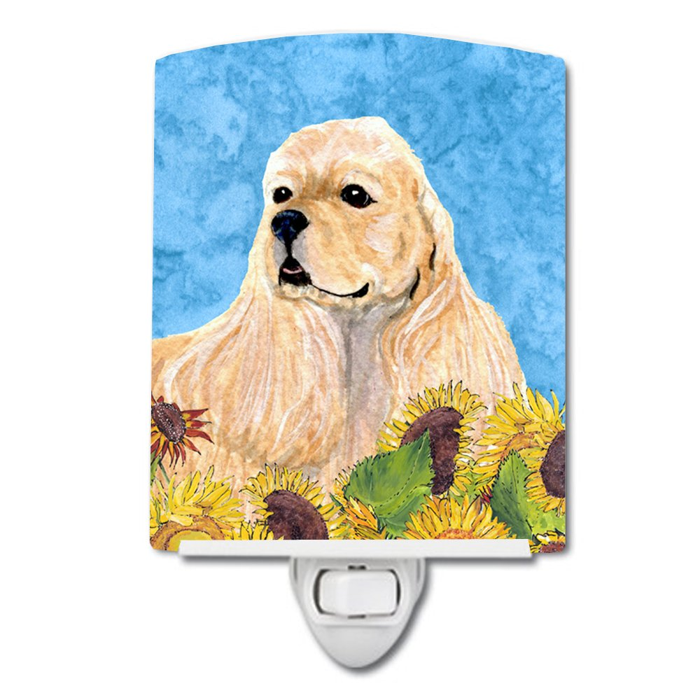 Caroline's Treasures Cocker Spaniel in Summer Flowers Night Light, 6'' x 4'', Multicolor