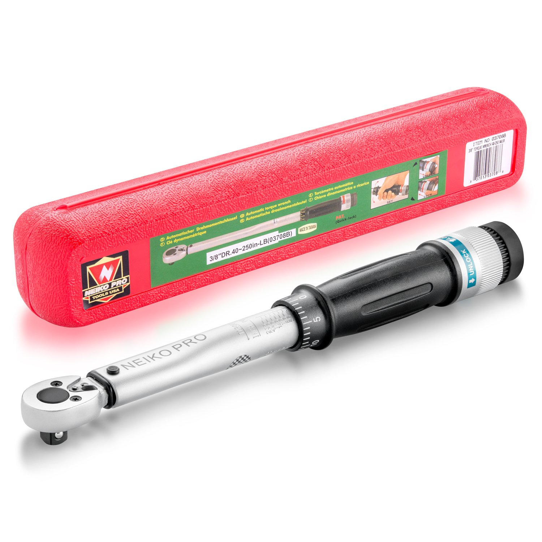 Neiko 03708B 3/8'' Drive Adjustable Torque Wrench, Chrome Vanadium Steel | 40-250 Inch-Pound | 11.5'' Length | SAE