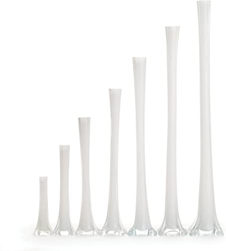 Koyal Wholesale Frosted white Eiffel Tower Vase, 28-Inch, Case of 12