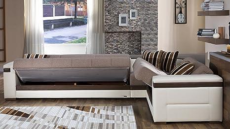 Amazon.com: Luna Seccional sofá cama en Platin Mostaza: Home ...