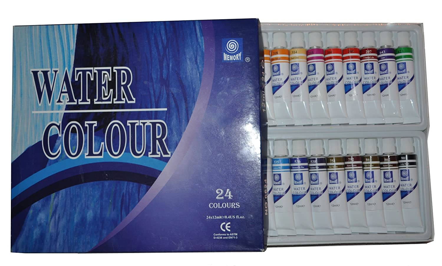 Memory Professional Artists Watercolour Paint Set, 24 Colours in 12ml Alumenium Tubes, Retail Packed - advance purchas special