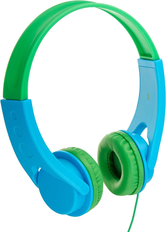 AmazonBasics Volume Limited On-Ear Headphones for Kids - Blue/Green