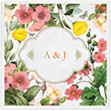 Spring Summer Wildflower Personalized Initials Beverage Cocktail Ooh La Color Napkins - 100 Custom Printed Paper Napkins