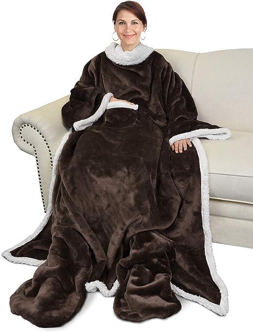 Catalonia Sherpa Wearable Blanket Comfy Snuggle Wrap Sleeved Throw Blanket Robe