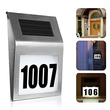Solar Lighted Address Sign House Number, SOONHUA Decorative Plaque Door  Number Apartment Number Outdoor Lighting