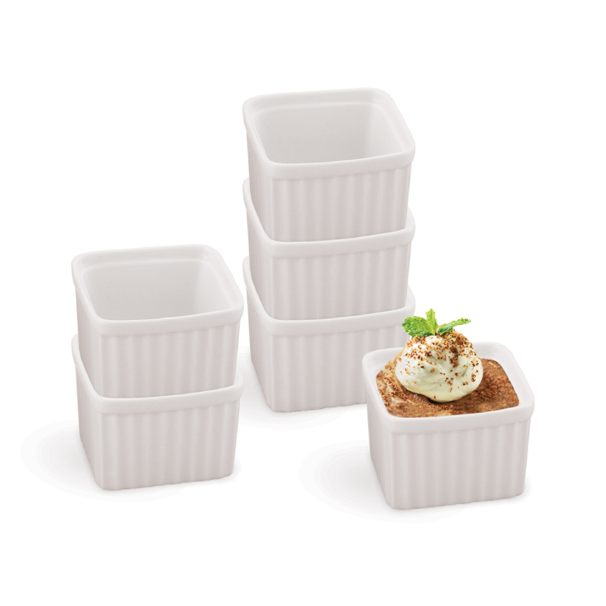 HIC Square Ramekins, Porcelain, 3-Inch, 6-Ounce Capacity, Set of 6