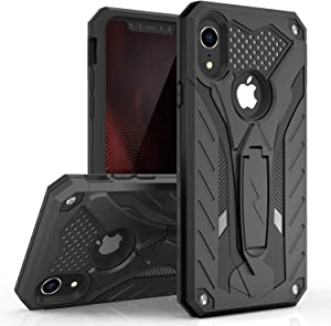 Zizo Static Series Compatible with iPhone XR Case Military Grade Drop Tested with Built in Kickstand (Black/Black)