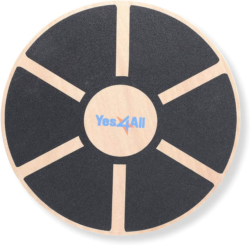 Yes4All Wooden Wobble Balance Board Exercise Balance Stability Trainer 15.75 inch Diameter