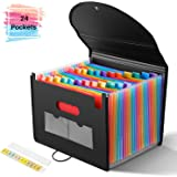YISSVIC 24 Pockets Expanding Files Folder with Cover Accordian Folder Organizer Plastic Rainbow Expandable File Folder Fit A4 Paper Letter