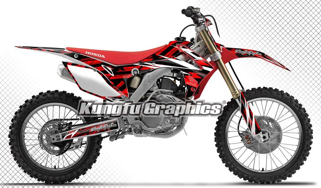 Kungfu Graphics Custom Decal Kit for Honda CRF250R 2014 2015 2016 2017 Red Black White Style 001