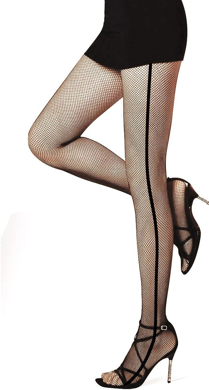 PrettyLoveHose Collant Resille Noir Effet Large Couture