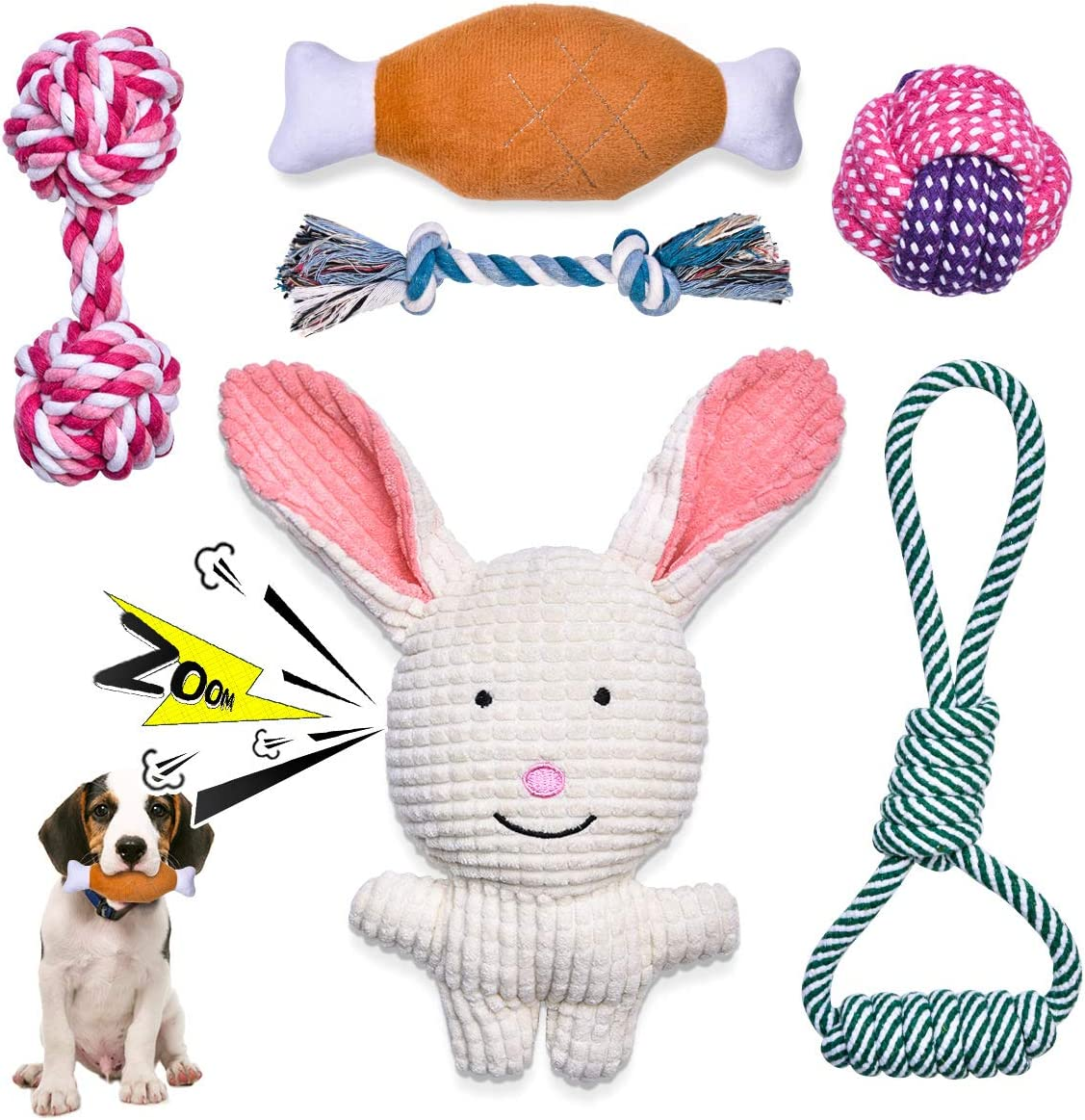 Feeko Squeaky Plush Dog Rope Toy 6 Pack for Puppy DOWN TO £7.99 @ Amazon