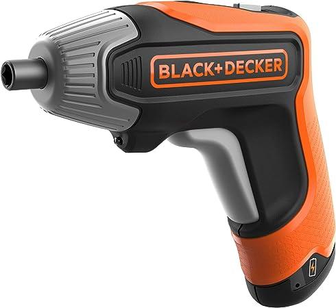 BLACK+DECKER Tournevis Electrique BCF611CK QW 3.6V, 180 trmin, 5.5 Nm, Charge Complète en 1h, Lampe LED Intégrée, Orange 1 Coffret, 10 Embouts