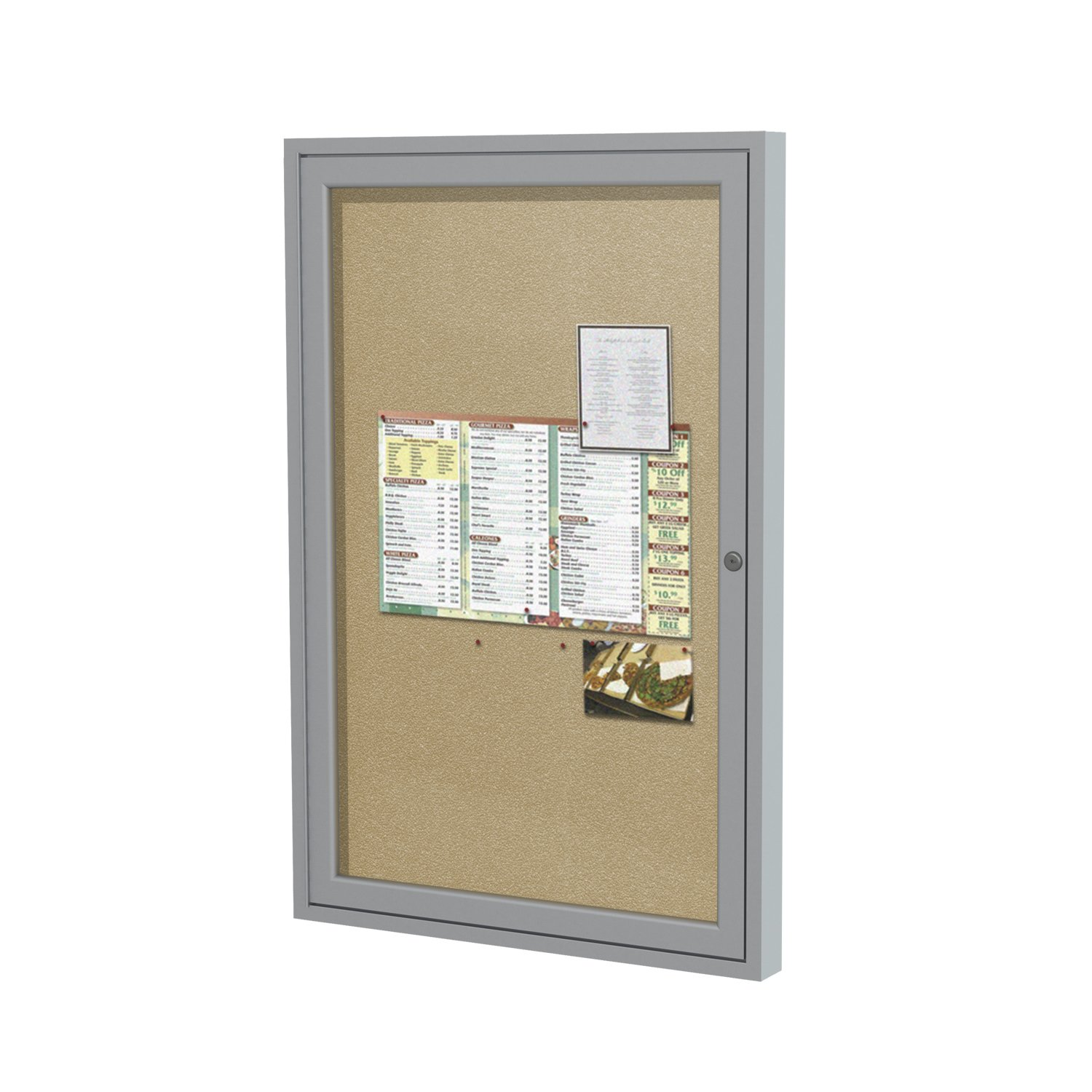 Ghent 36x24 1-Door Outdoor Enclosed Vinyl Bulletin Board, Shatter Resistant, with Lock, Satin Aluminum Frame - Caramel (PA13624VX-31 Z11640), Made in the USA PA13624VX-181