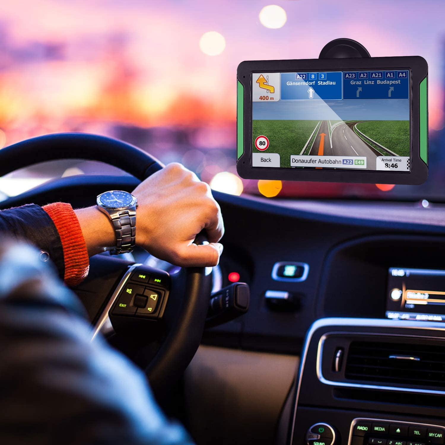 Free Lifetime Map Update Real-time Voice Reminder 8GB 256 Satellite Navigation Speeding Warning 7 inches Route Planning Car GPS Navigation Aonerex 7-inch HD Touch Screen