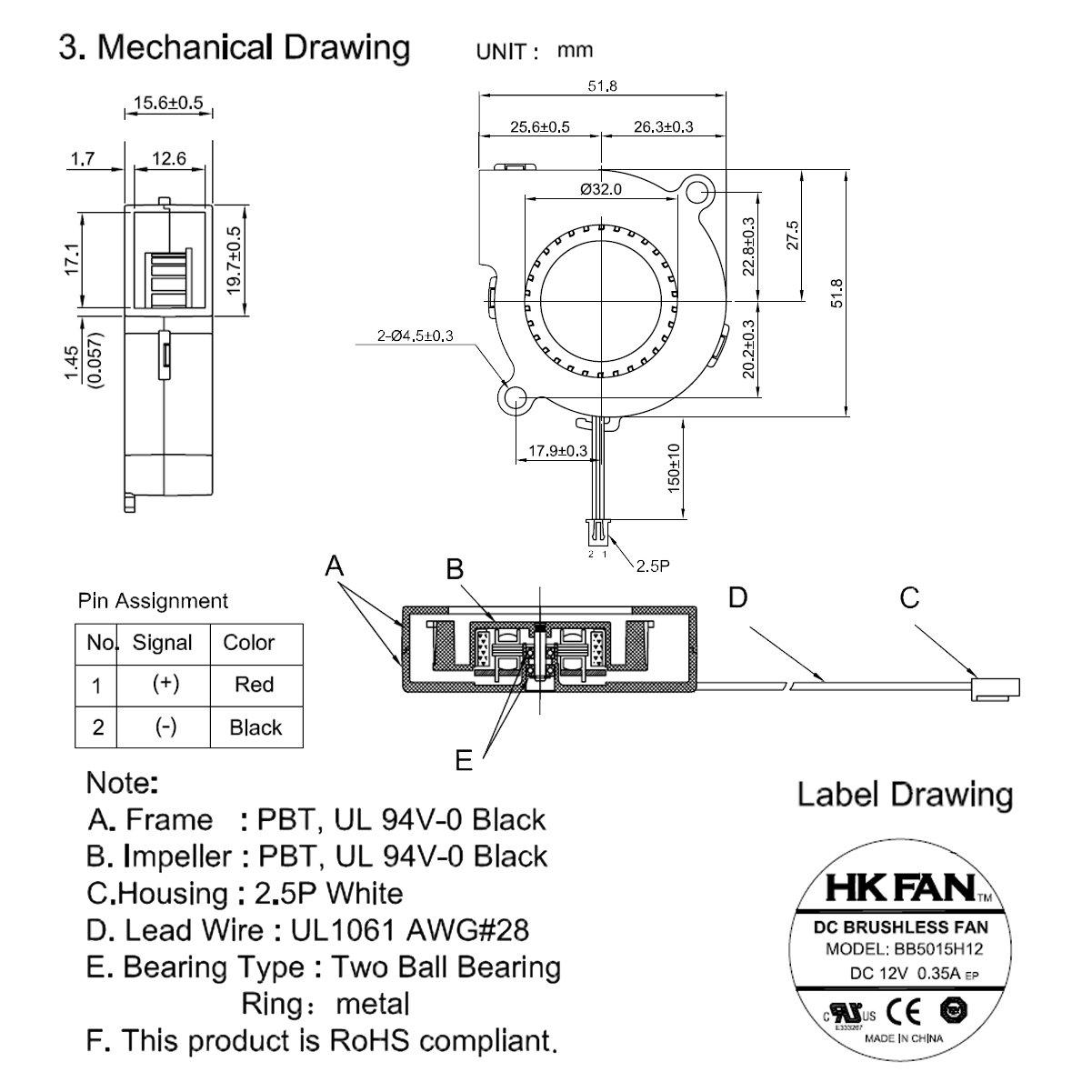 2/St/ück 50/mm x 15/mm 5015/12/V Dual Ball Bearing DC B/ürstenlos Gebl/äse L/üfter bb5015h12/mit 2/Pin Terminal UL T/ÜV