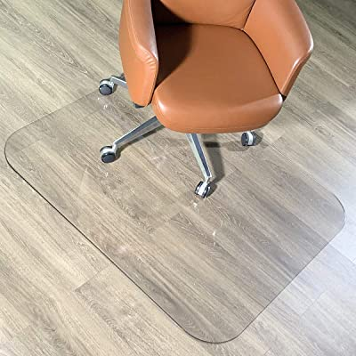 1//5 Thick Clear Tempered Glass with 4 Anti-Slip Pads Chair Mat for Hardwood Floor Office Chair Mats for Carpeted Floor Desk Chair Mat GLSLAND 46 x 36 Glass Chair Mat for Hardwood Floor